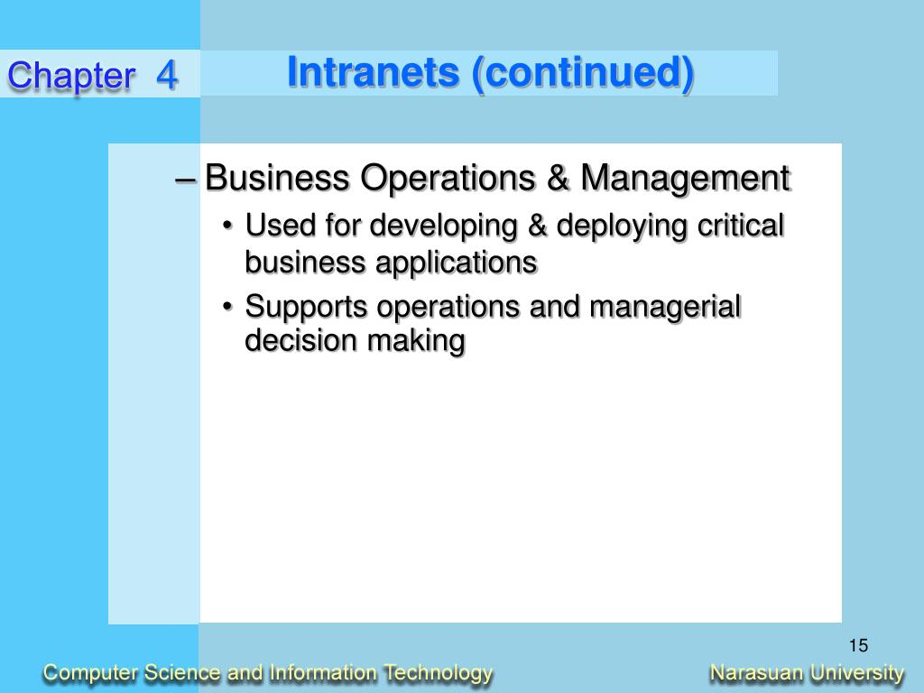 Intranets (continued)