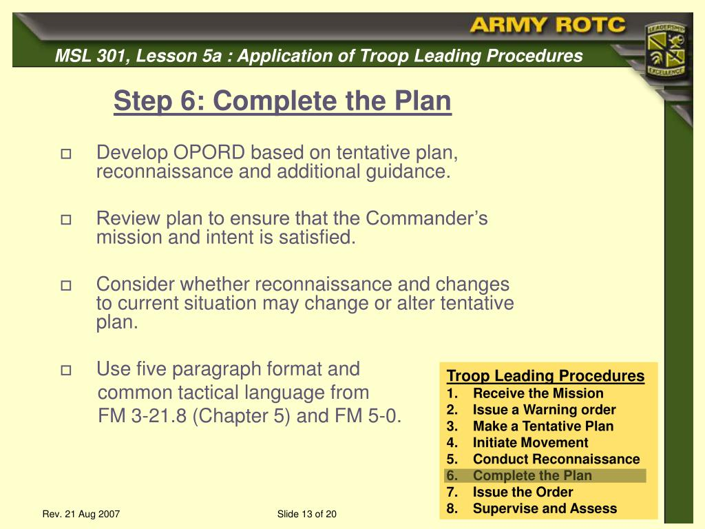 ppt application of the troop leading procedures