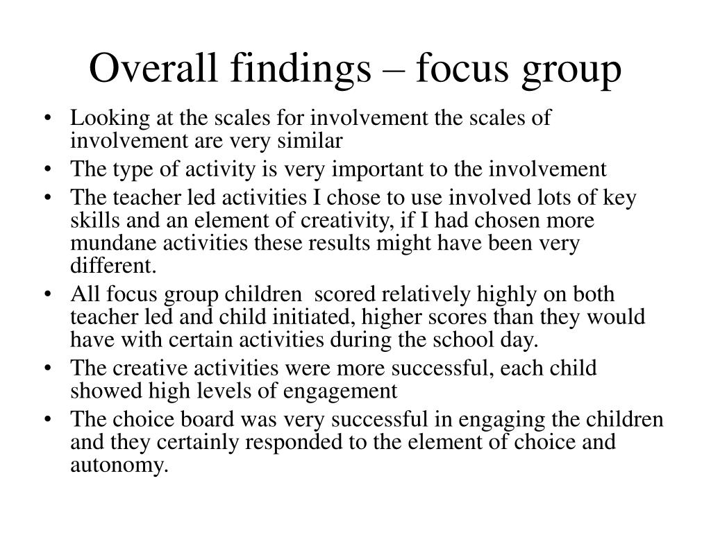 Overall findings – focus group