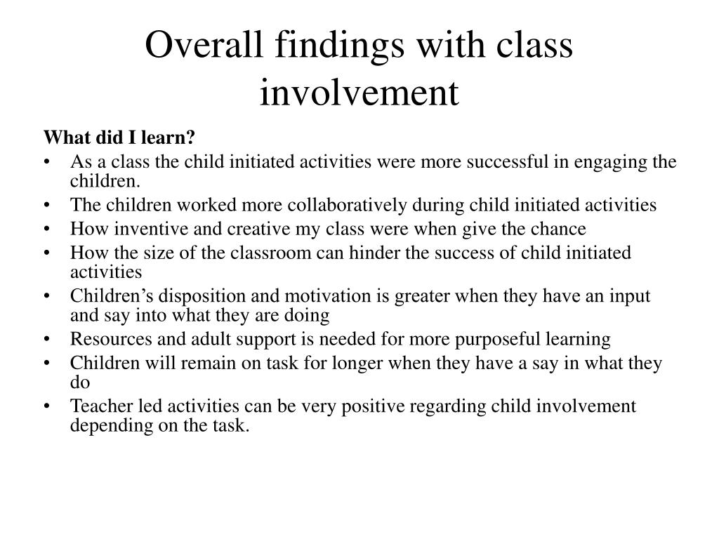 Overall findings with class involvement