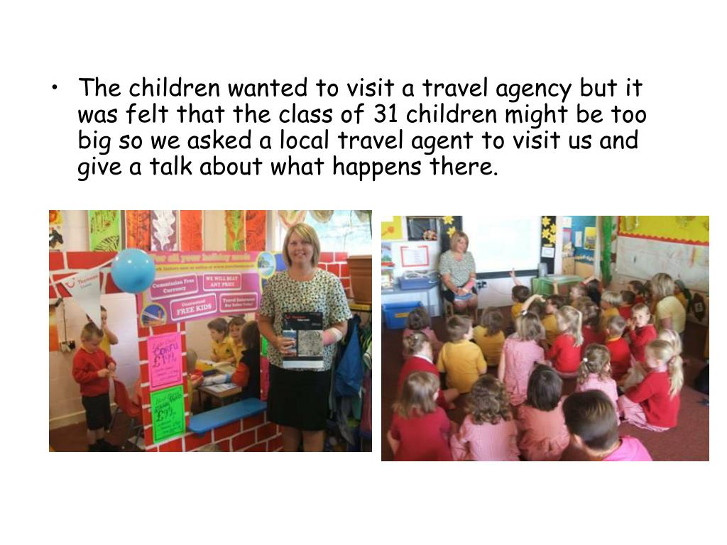 The children wanted to visit a travel agency but it was felt that the class of 31 children might be too big so we asked a local travel agent to visit us and give a talk about what happens there.