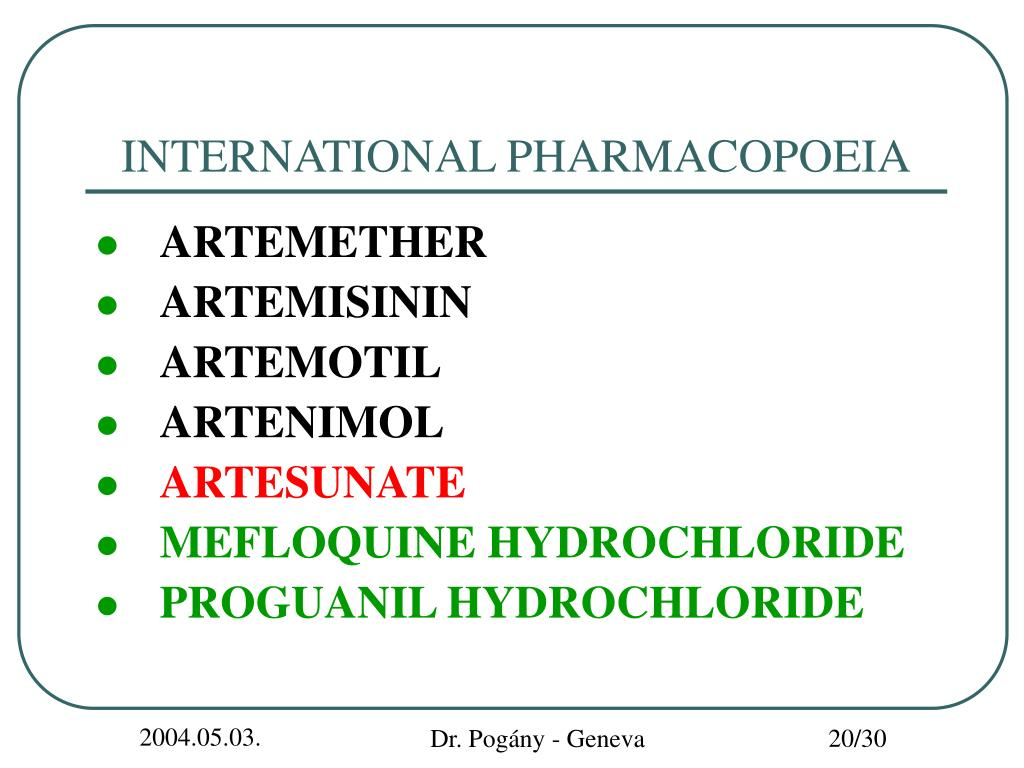 INTERNATIONAL PHARMACOPOEIA