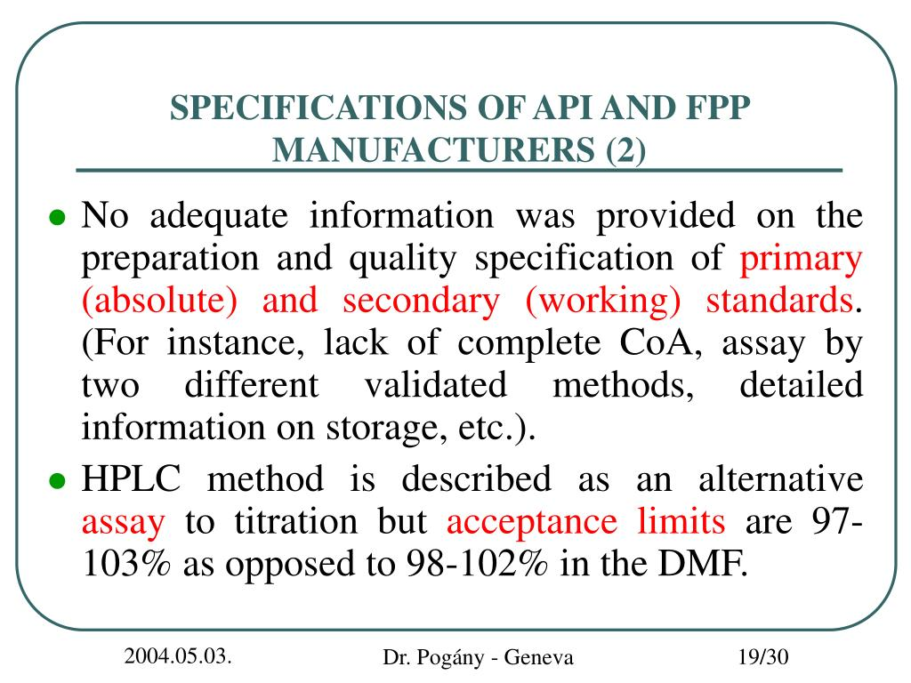 SPECIFICATIONS OF API AND FPP MANUFACTURERS (2)