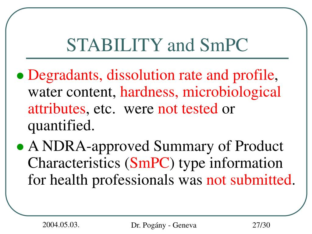 STABILITY and SmPC