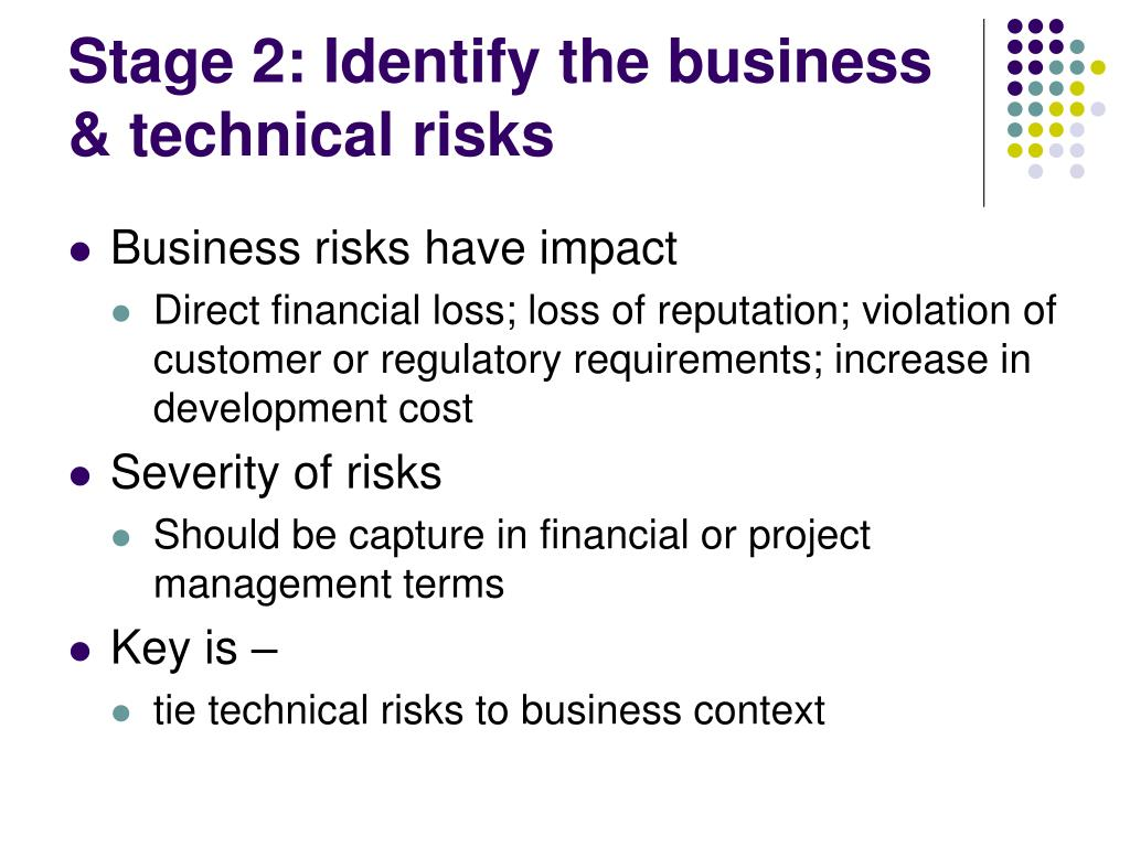 Stage 2: Identify the business & technical risks
