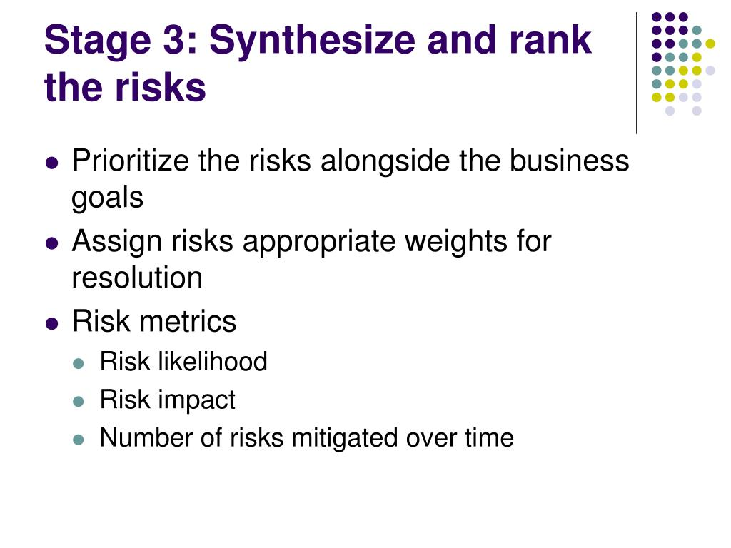 Stage 3: Synthesize and rank the risks