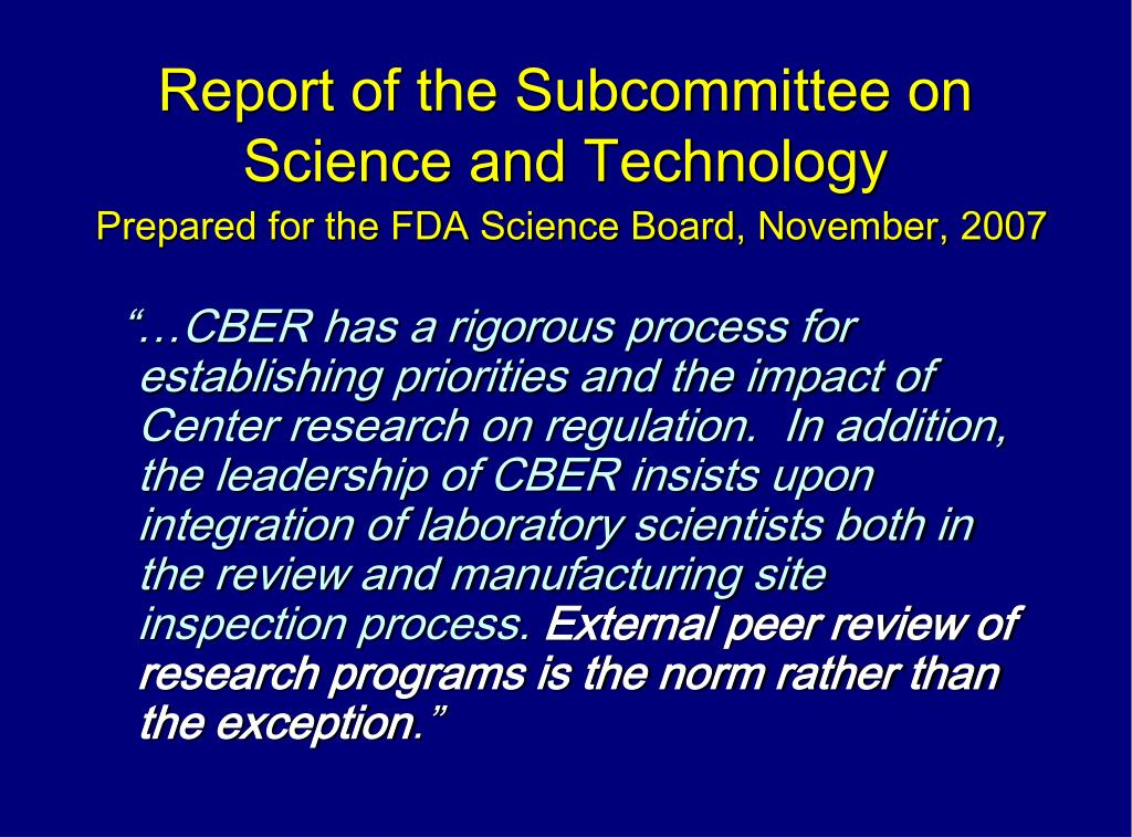Report of the Subcommittee on