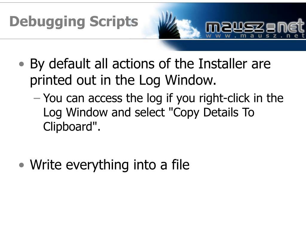 Debugging Scripts