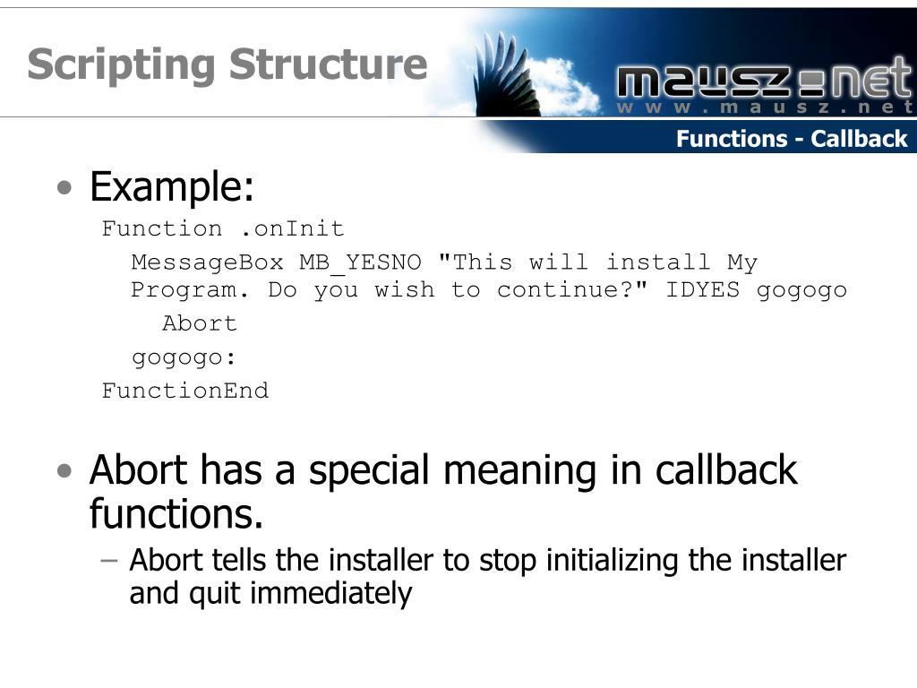 Scripting Structure