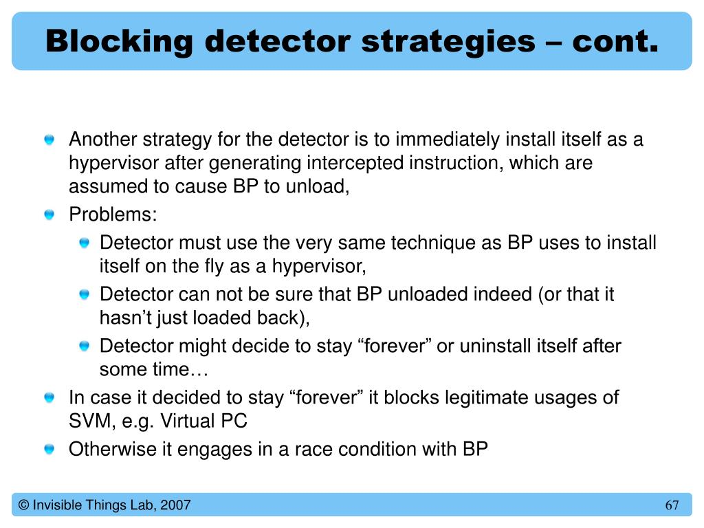 Blocking detector strategies – cont.