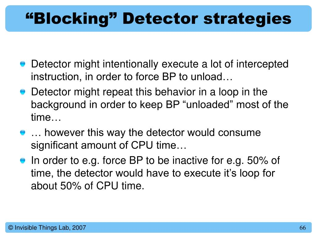 """Blocking"" Detector strategies"
