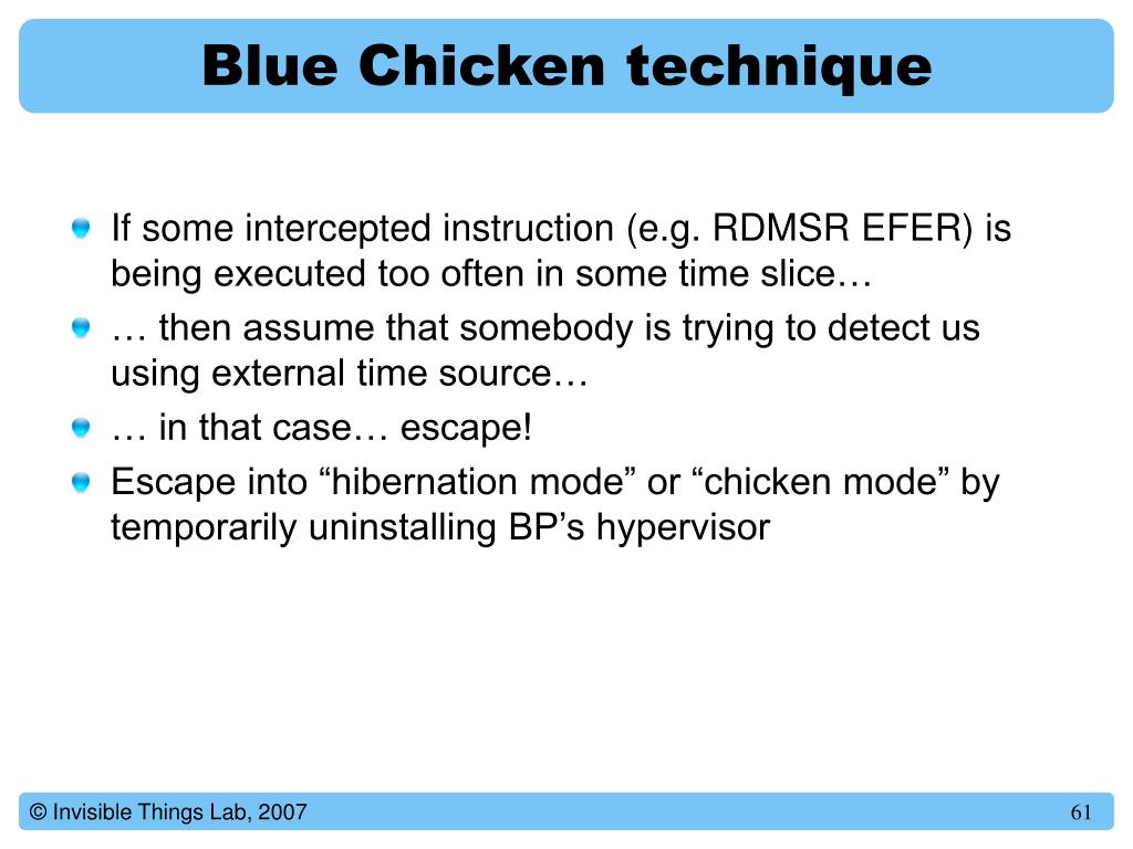 Blue Chicken technique