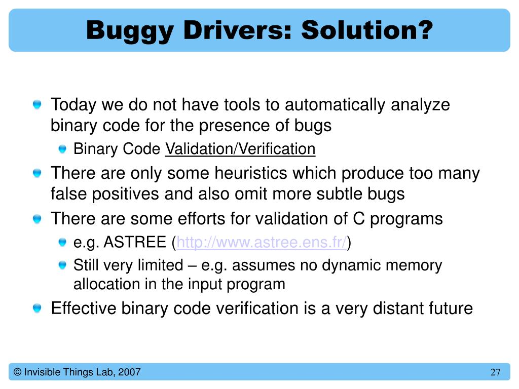 Buggy Drivers: Solution?