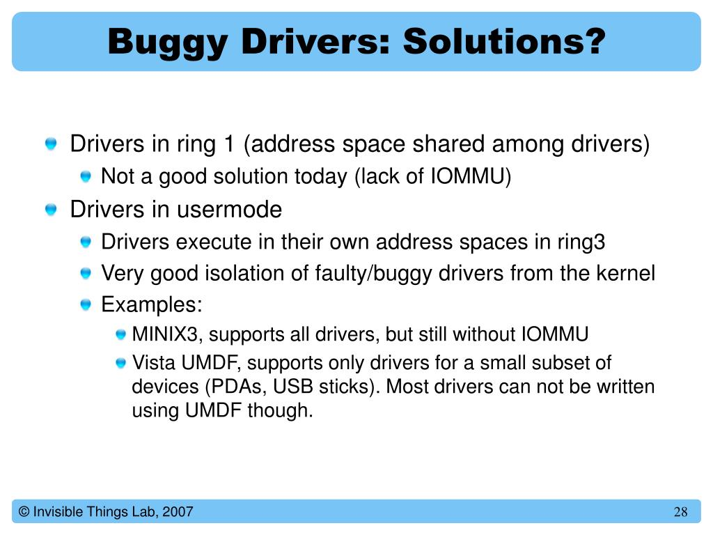 Buggy Drivers: Solutions?