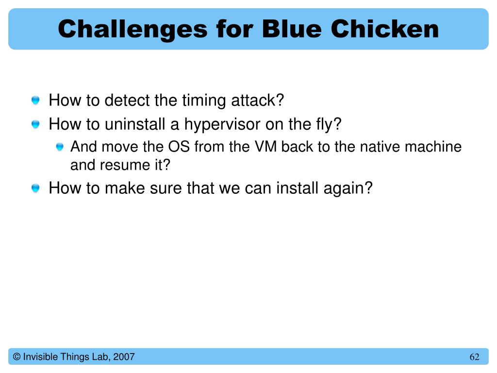 Challenges for Blue Chicken