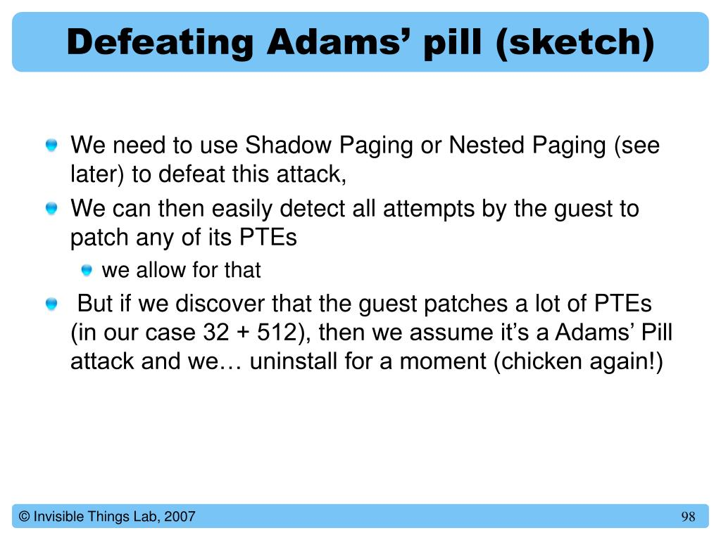 Defeating Adams' pill (sketch)