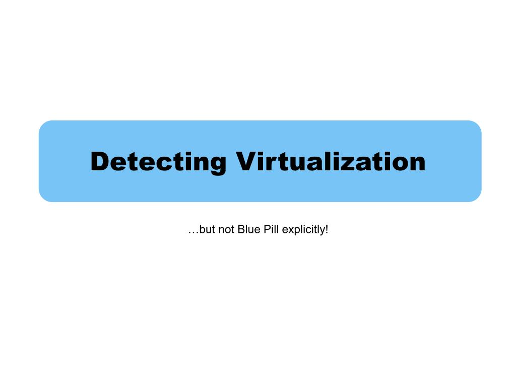 Detecting Virtualization