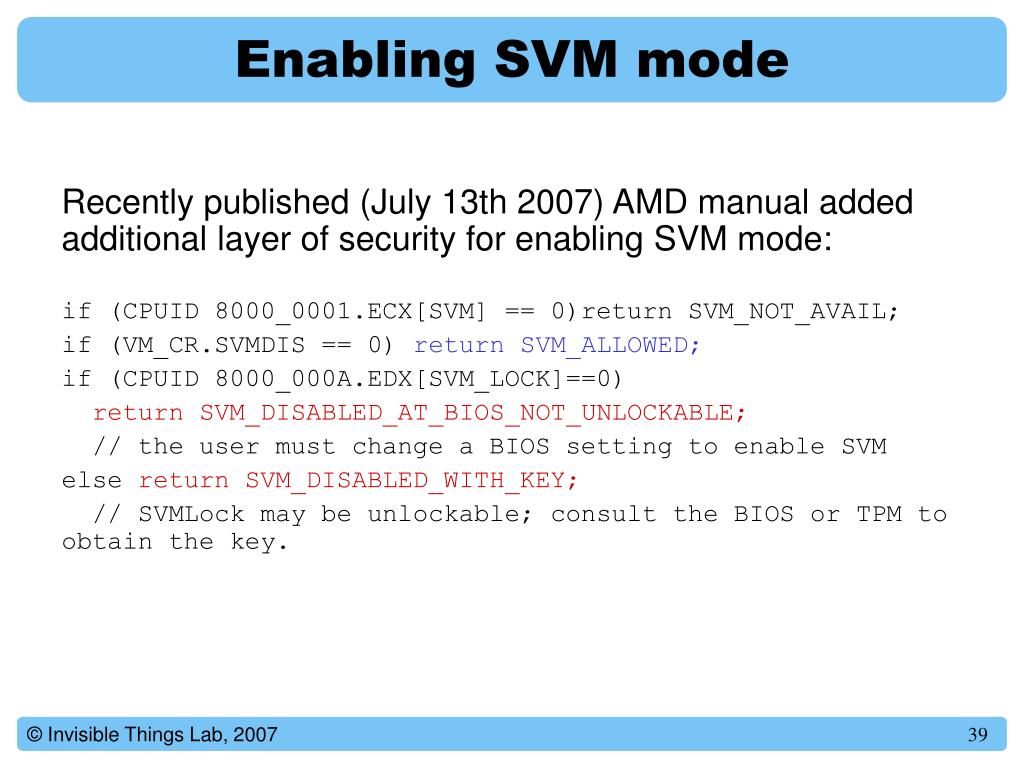Enabling SVM mode