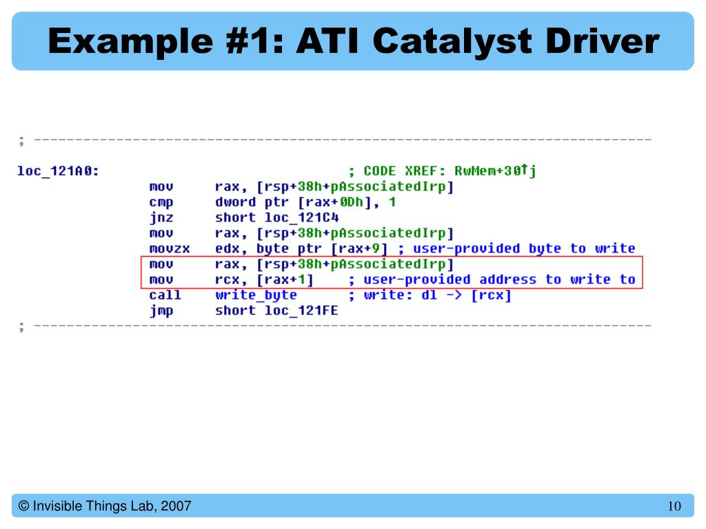 Example #1: ATI Catalyst Driver
