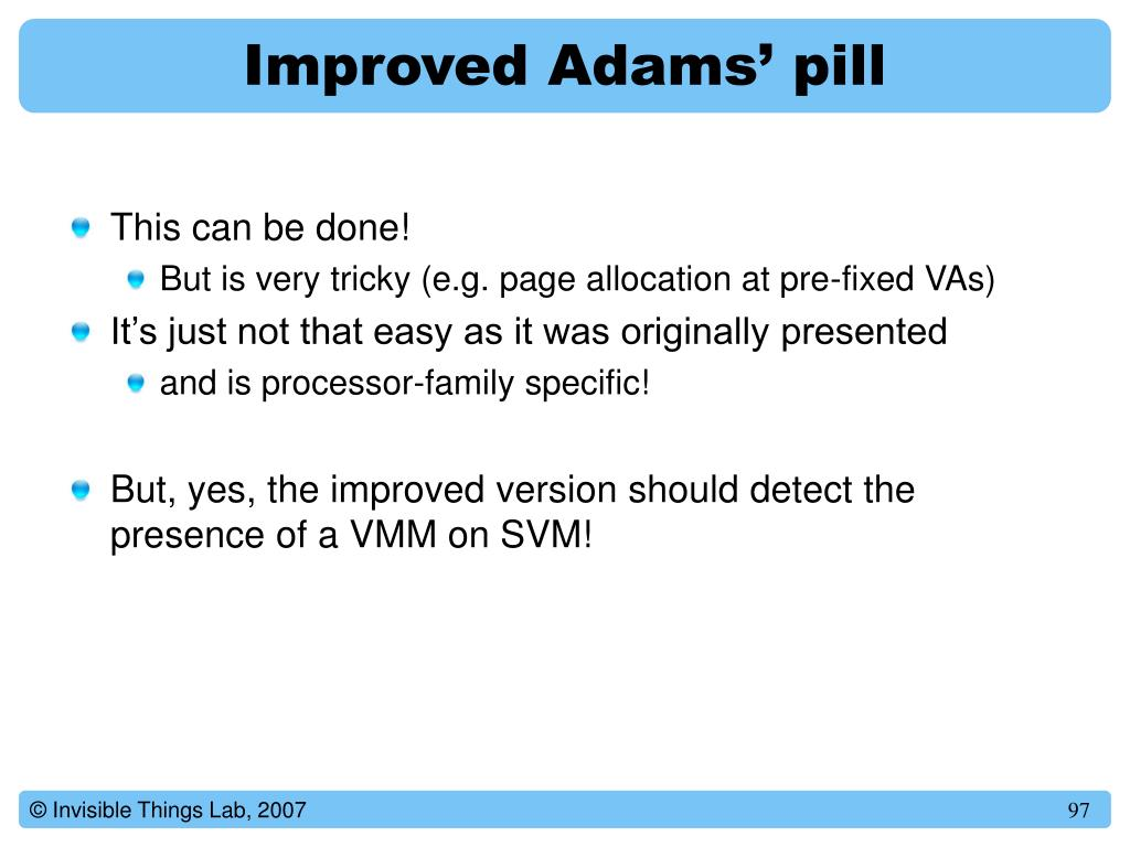 Improved Adams' pill
