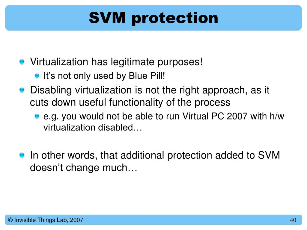 SVM protection