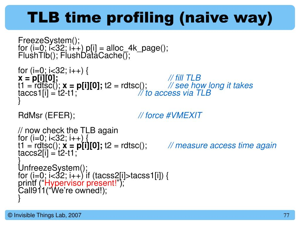 TLB time profiling (naive way)
