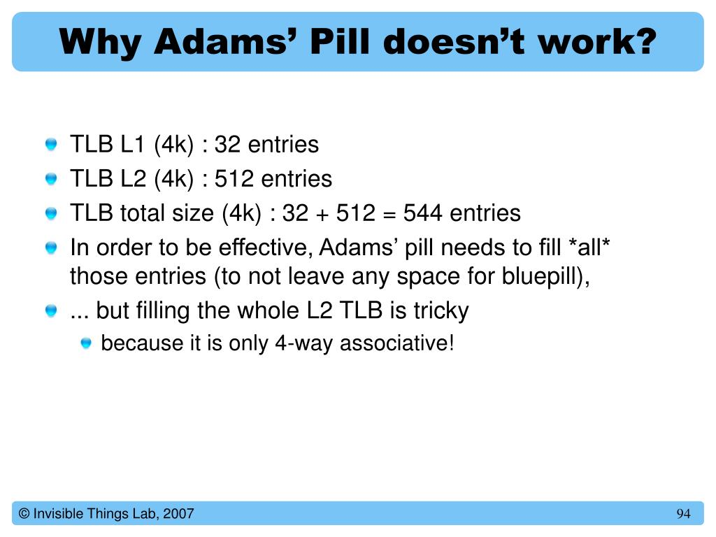 Why Adams' Pill doesn't work?