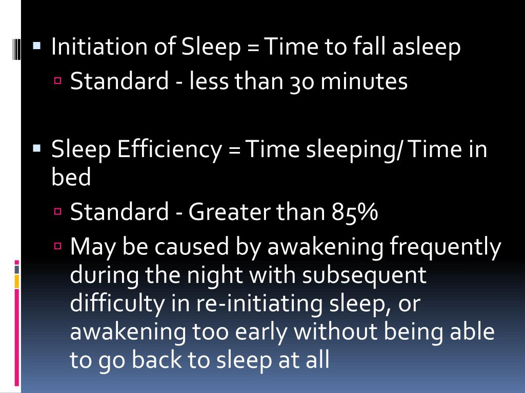 Initiation of Sleep = Time to fall asleep