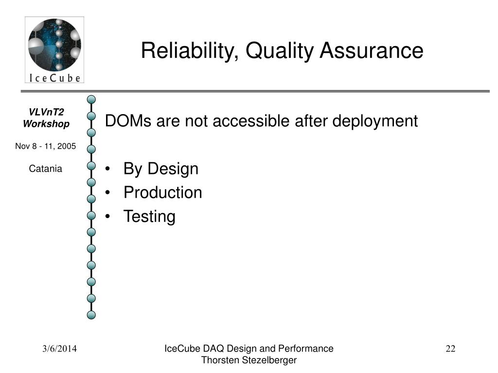 Reliability, Quality Assurance
