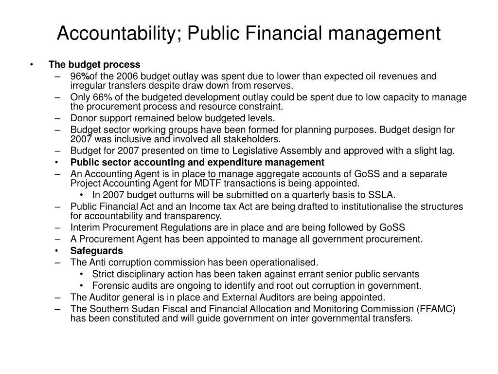Accountability; Public Financial management