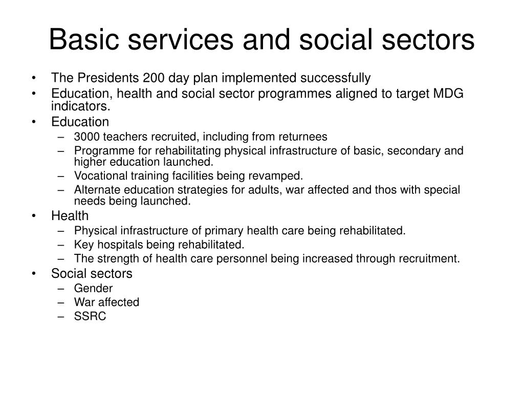 Basic services and social sectors