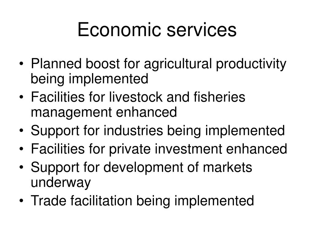 Economic services