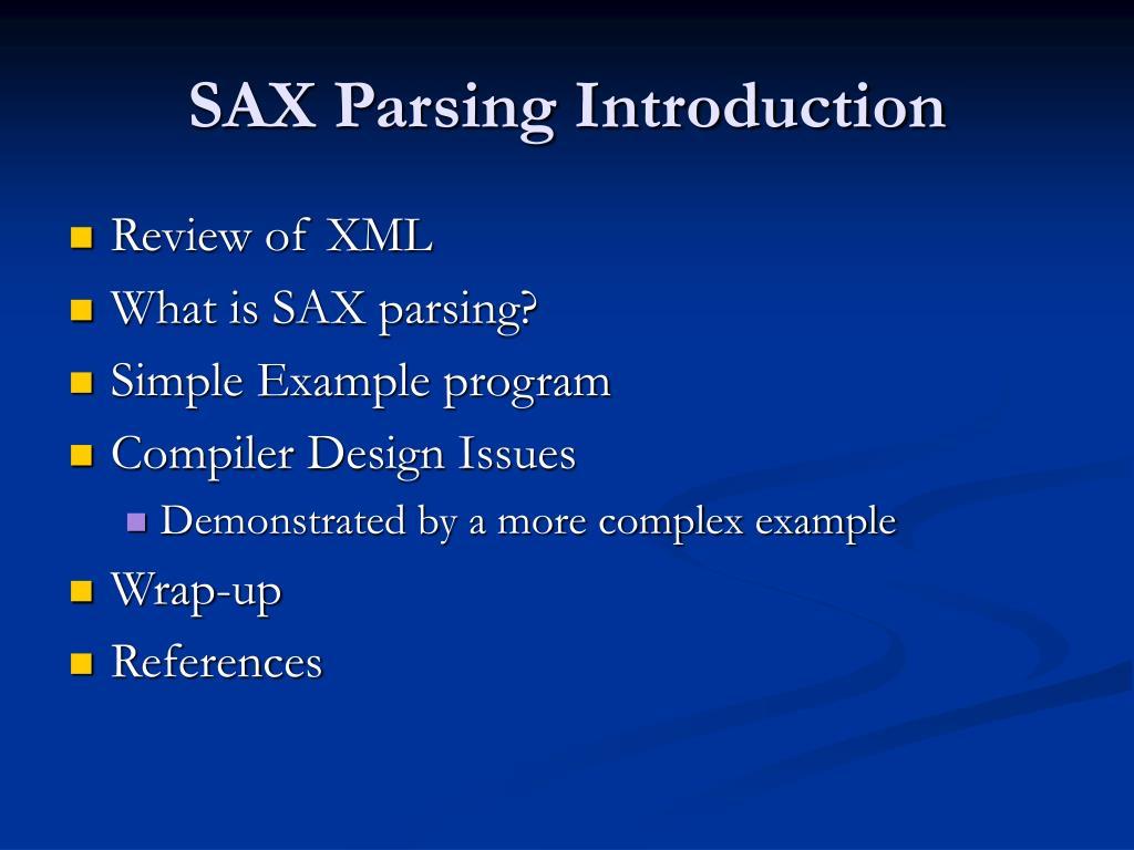 SAX Parsing Introduction