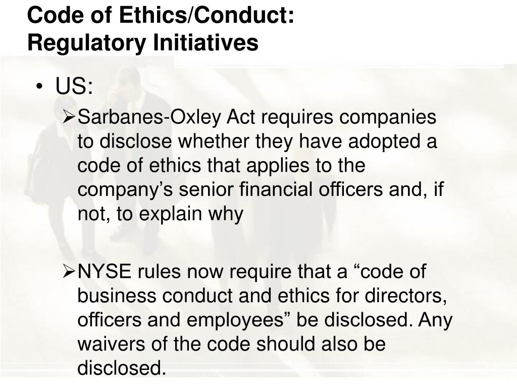 Code of Ethics/Conduct: