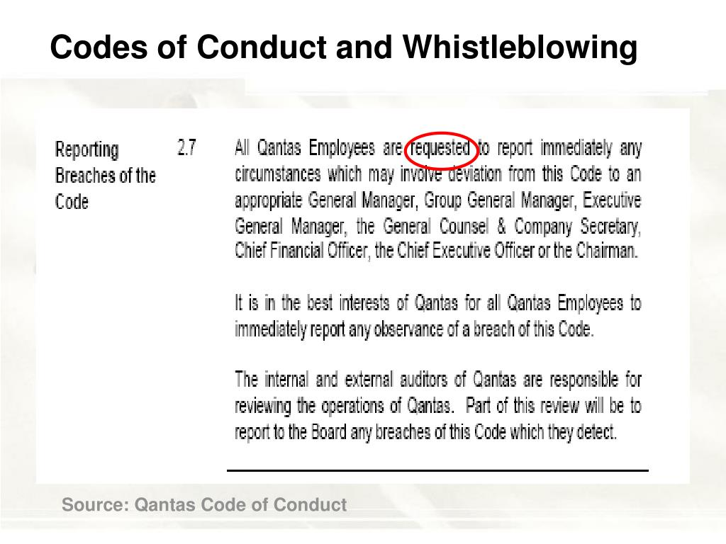 Codes of Conduct and Whistleblowing