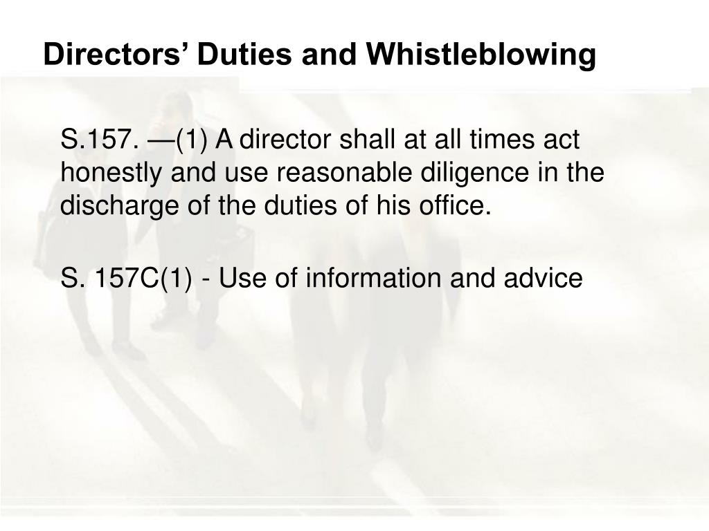 Directors' Duties and Whistleblowing