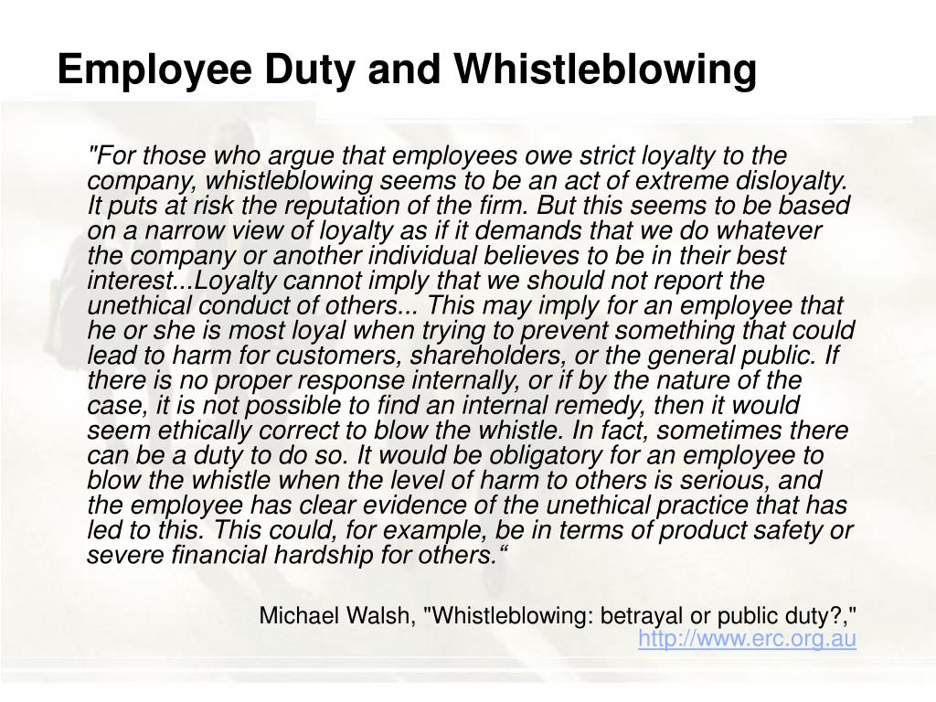 Employee Duty and Whistleblowing