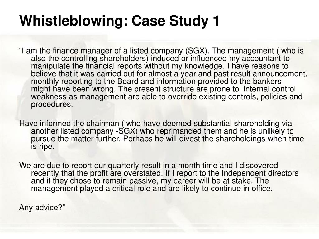 Whistleblowing: Case Study 1