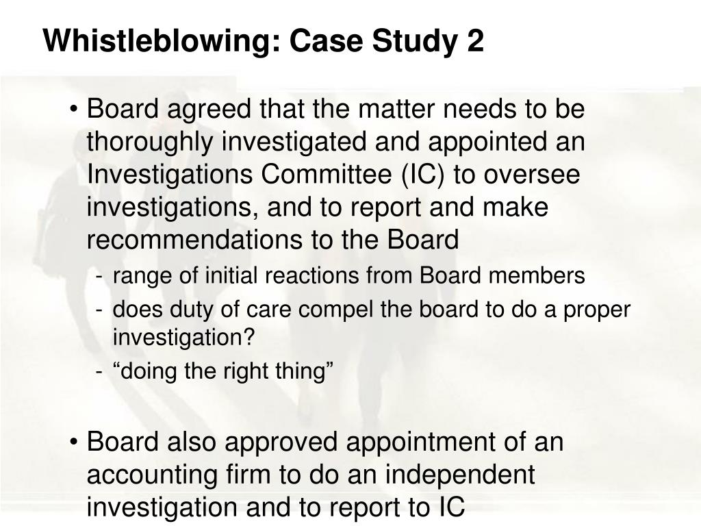 Whistleblowing: Case Study 2