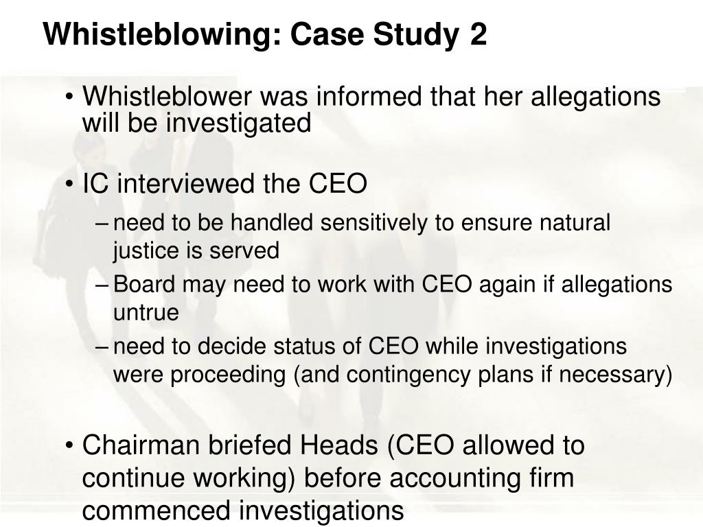 Whistleblowing: Case Study