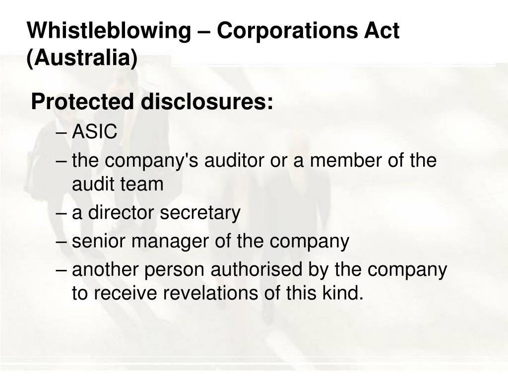 Whistleblowing – Corporations Act (Australia)