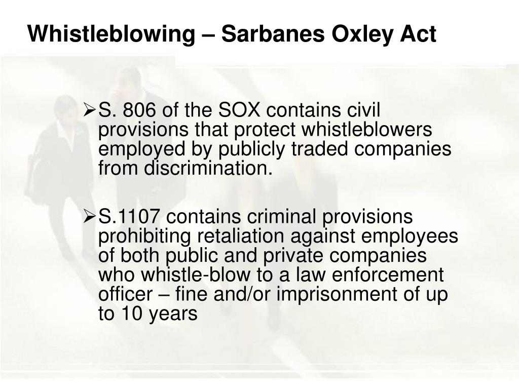 Whistleblowing – Sarbanes Oxley Act