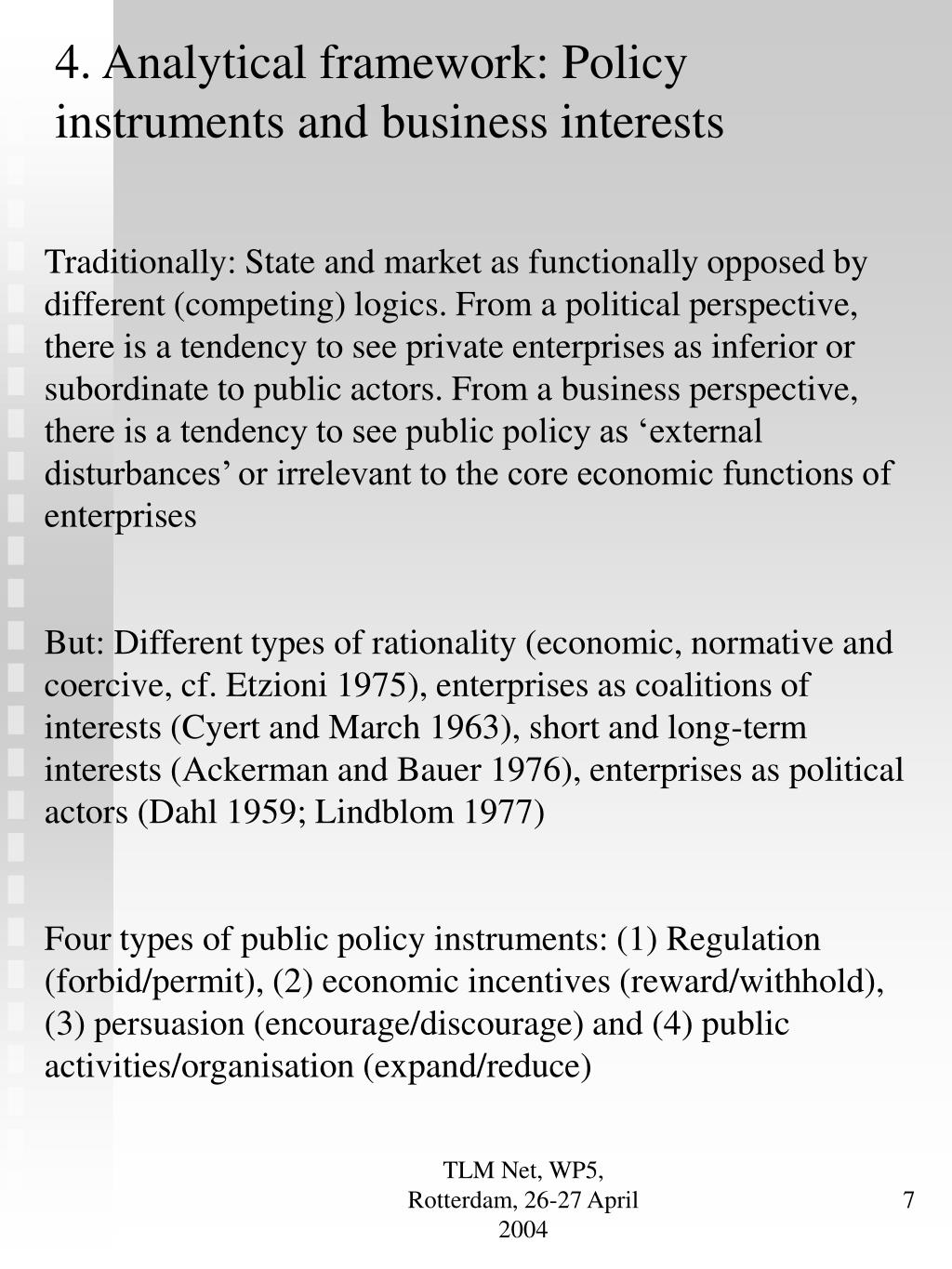 4. Analytical framework: Policy instruments and business interests