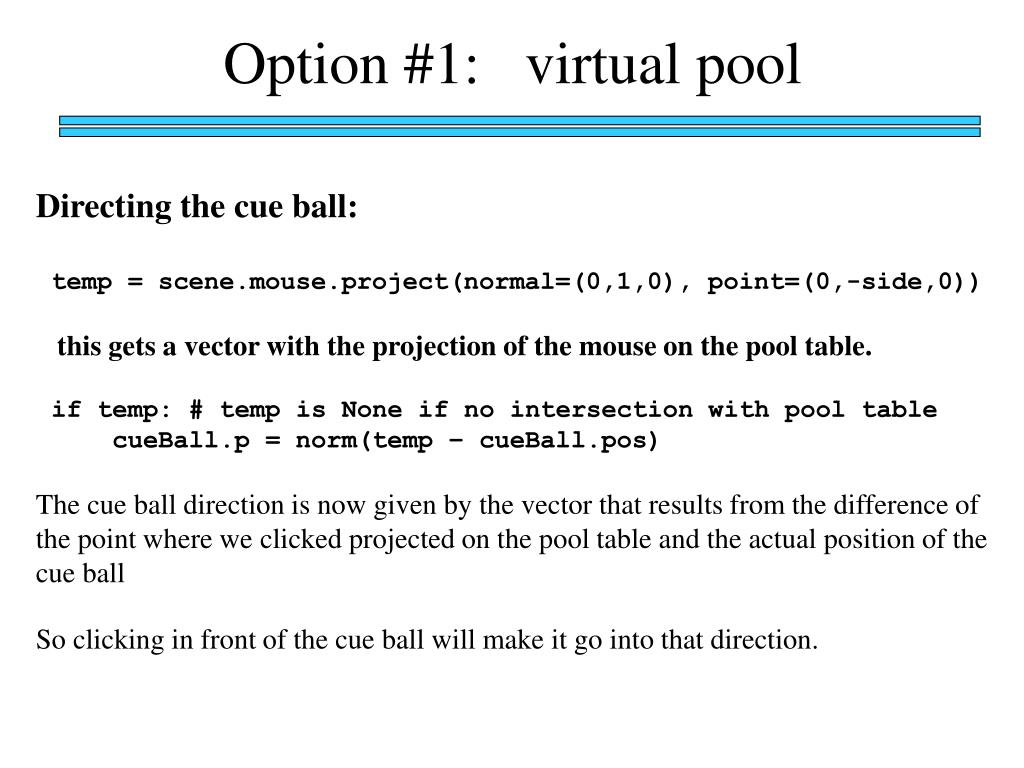 Option #1:   virtual pool