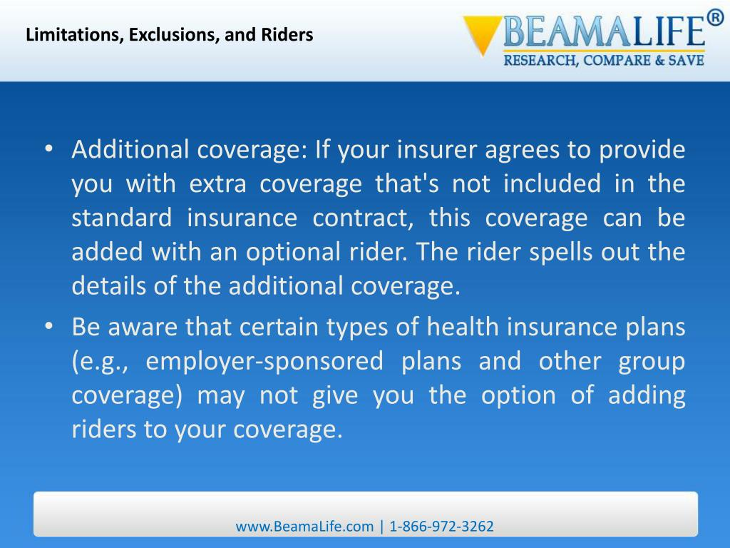 Limitations, Exclusions, and Riders