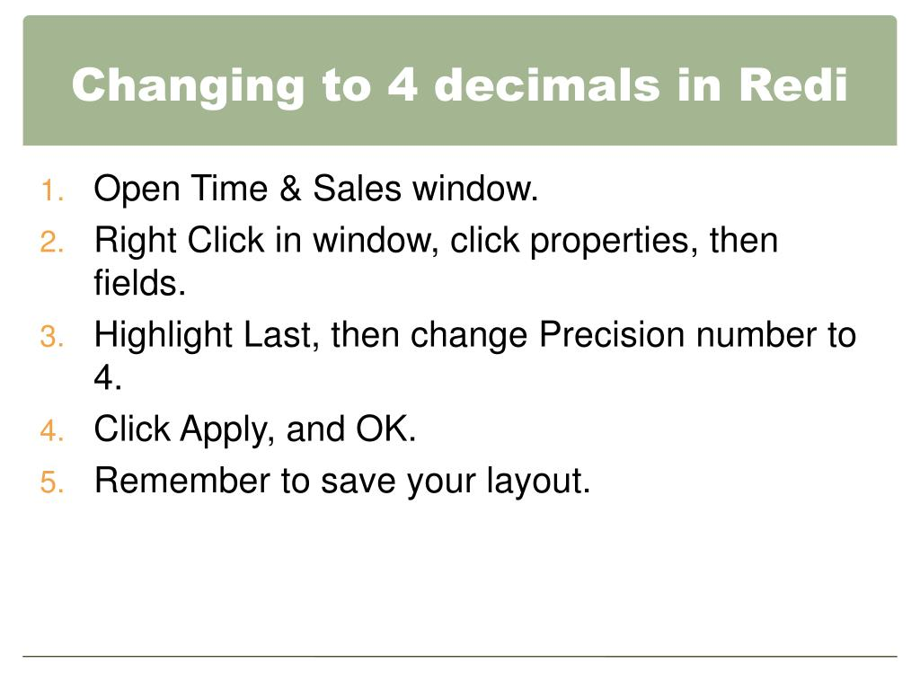 Changing to 4 decimals in Redi