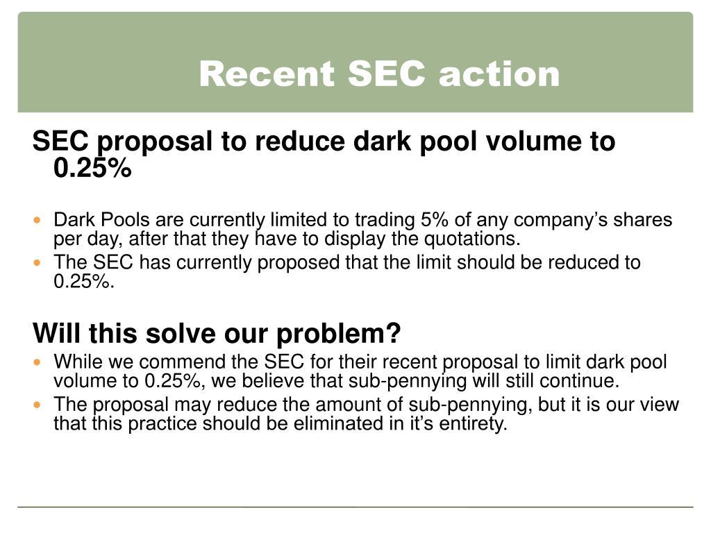 Recent SEC action