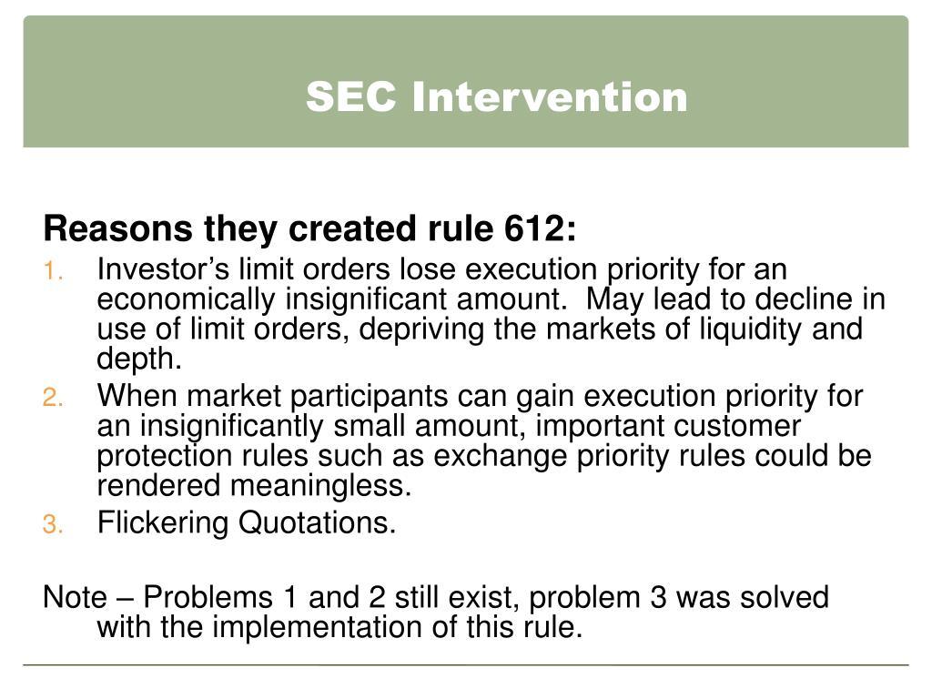 SEC Intervention