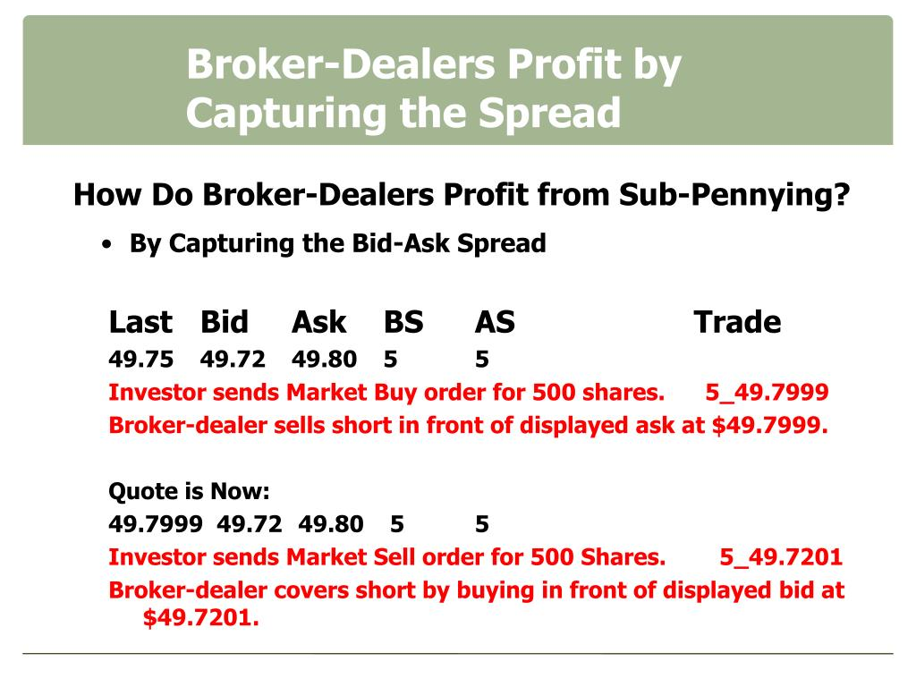Broker-Dealers Profit by     Capturing the Spread