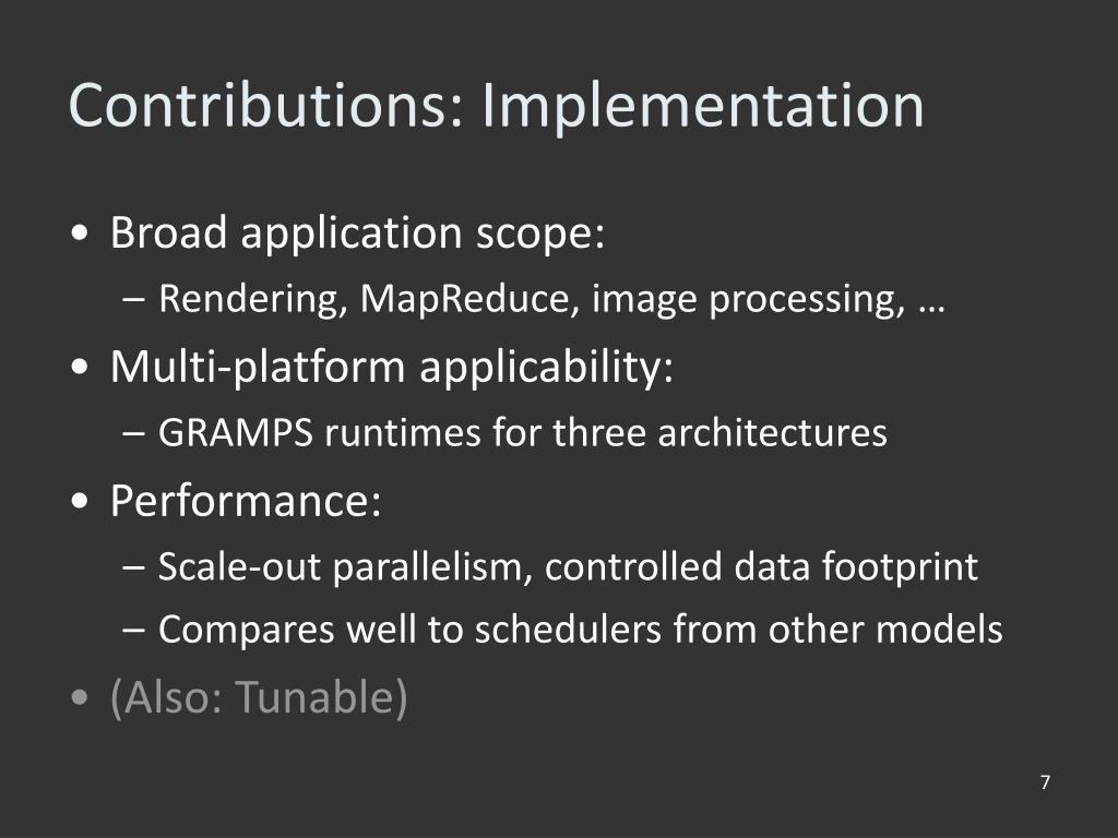 Contributions: Implementation